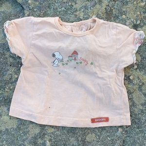 Vintage Snoopy baby girls French top shirt Sz 00